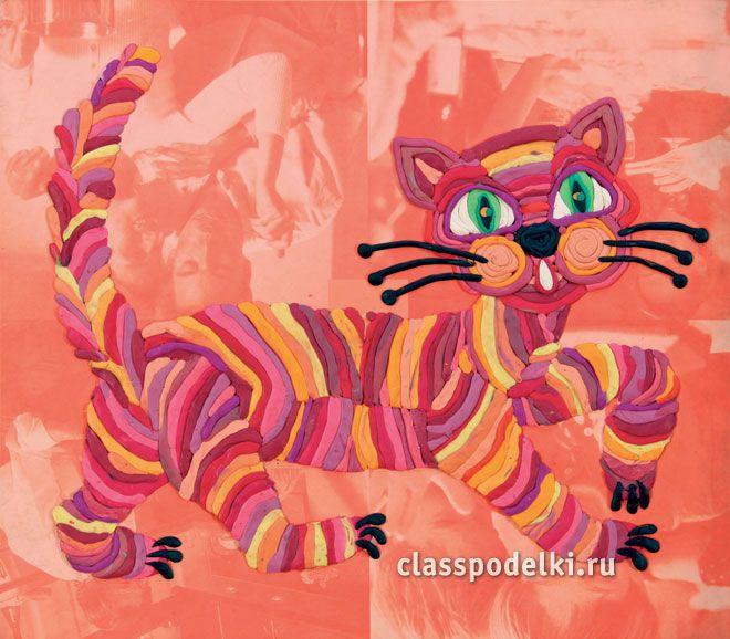 радужный котик из пластилина аппликация
