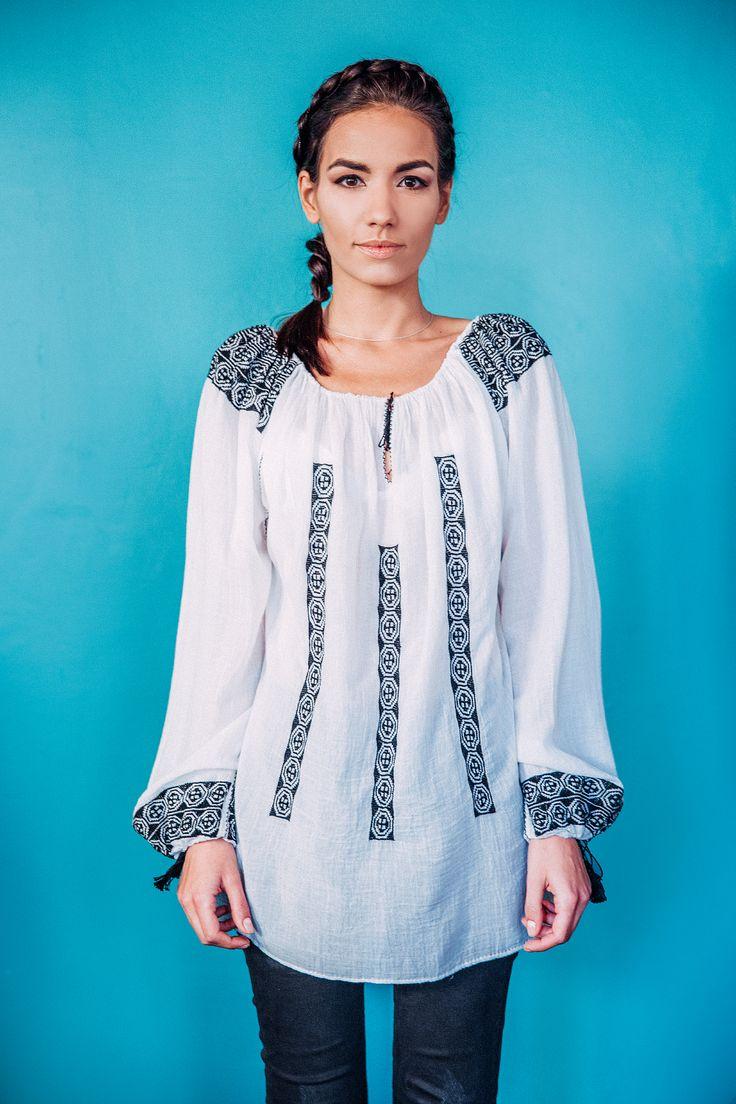 100% handmade Romanian blouse, embroidered on the sleeves and front  with black thread.  Price: 450 lei (100 EUR) Details on:  facebook.com/singularRO singularwear@yahoo.com #readytowear #limitededition #singular #fashion #romanianblouse
