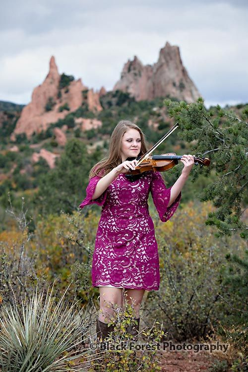Colorado Springs high school senior  photography, Best, unique, fashion high school senior photography in Colorado Springs for Falcon High School with violin, Colorado by Black Forest Photography http://www.blackforestphoto.com Outdoor girl senior photo shoot in Garden of the Gods #seniorpictures #girlsseniorphotos #seniorphotoshoot #highschoolseniorphotographer #coloradospringshighschoolseniorphotographer #violin