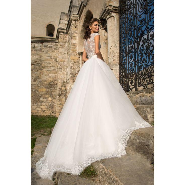 Rosabella - honosné dlhé svadobné šaty na ramienka s čipkovým živôtikom a veľkou sukňou