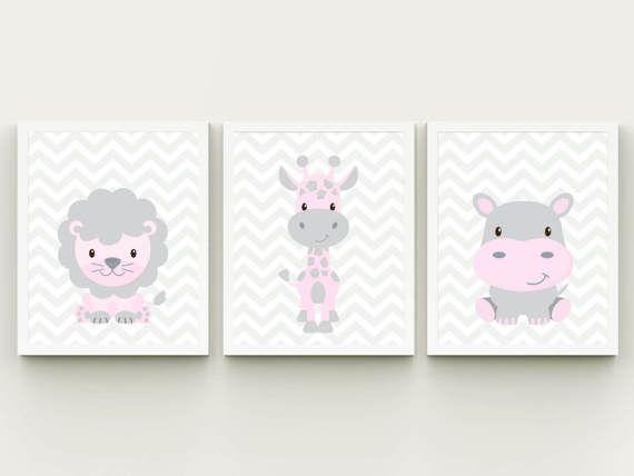 Animales de safari imprimibles infantiles paredes arte arte