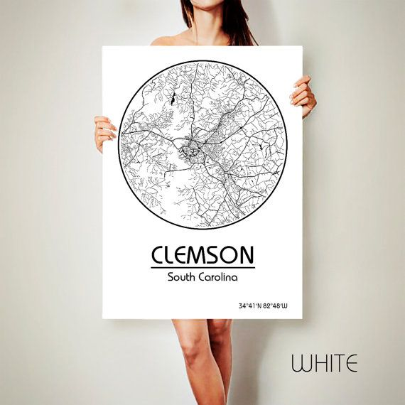 CLEMSON South Carolina CANVAS Map Clemson South by ArchTravel
