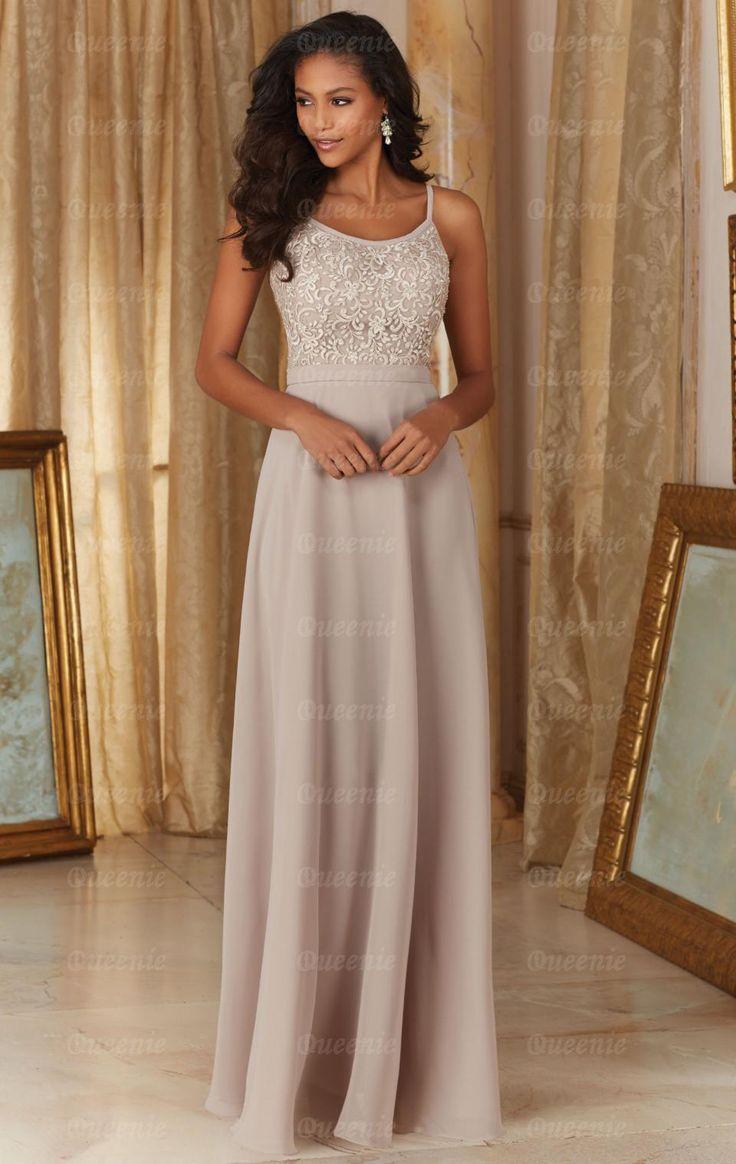 Simple Long Latte Bridesmaid Dress BNNDL0006-Bridesmaid UK