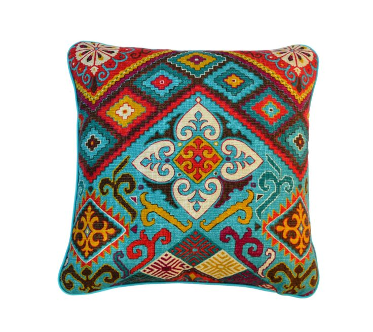 Aztec Design . Vibrant . Geometric Design . Decorative Pillow . Turquoise and Red . Handmade . by JulieAlvesDesigns on Etsy