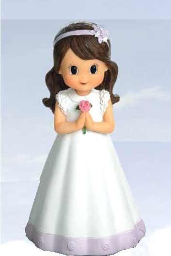 Figura niña Comunión vestido detalle lila [60-1656] - 1.30€ : Cosas43, detalles y regalos para los invitados, boda, comunión y bautizo, regalos infantiles