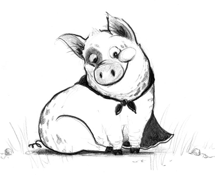 cute cartoon pig drawing