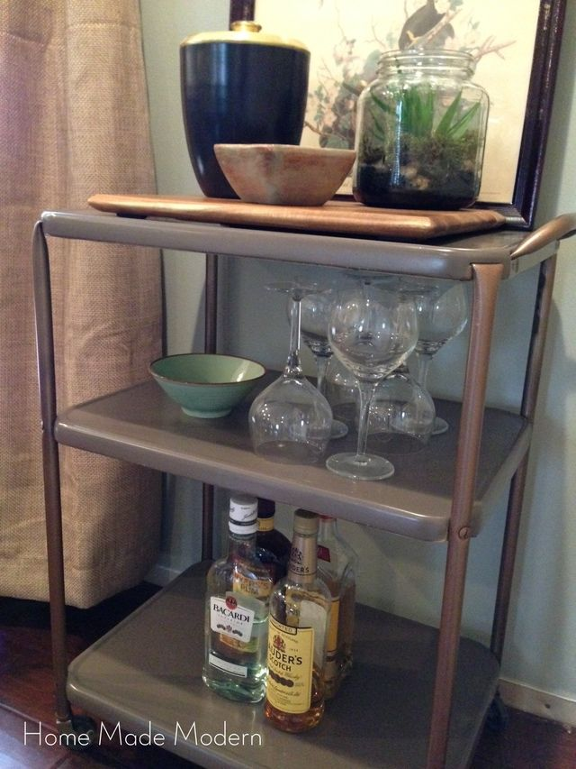 Get Mad Men Style with an Upcycled Utility Cart: Step 5: Styling a Bar Cart