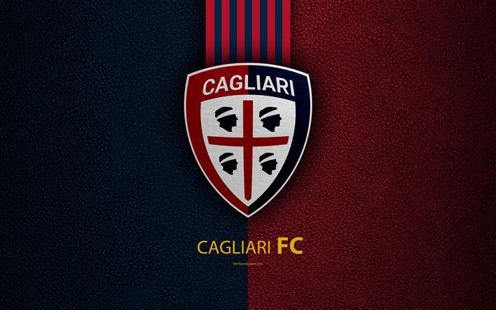 Download wallpapers Cagliari FC, 4K, Italian football club, Serie A, emblem, logo, leather texture, Cagliari, Italy, Italian Football Championships