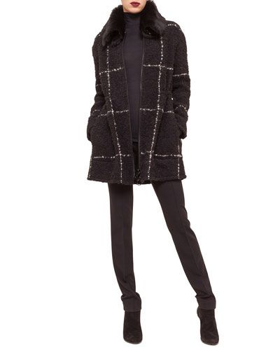 Akris punto Shearling-Collar Windowpane Check Coat, Modal Jersey Turtleneck Top & Stretch Jersey Skinny Pants Fall 2015