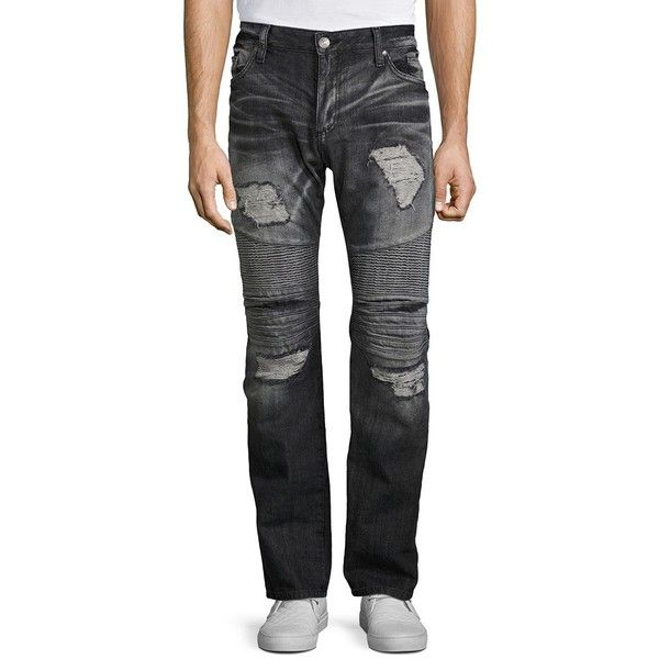 Robin's Jeans Regular-Fit Distressed Jeans ($545) ❤ liked on Polyvore featuring men's fashion, men's clothing, men's jeans, apparel & accessories, mens ripped jeans, men's regular fit jeans, mens torn jeans, mens distressed jeans and mens destroyed jeans