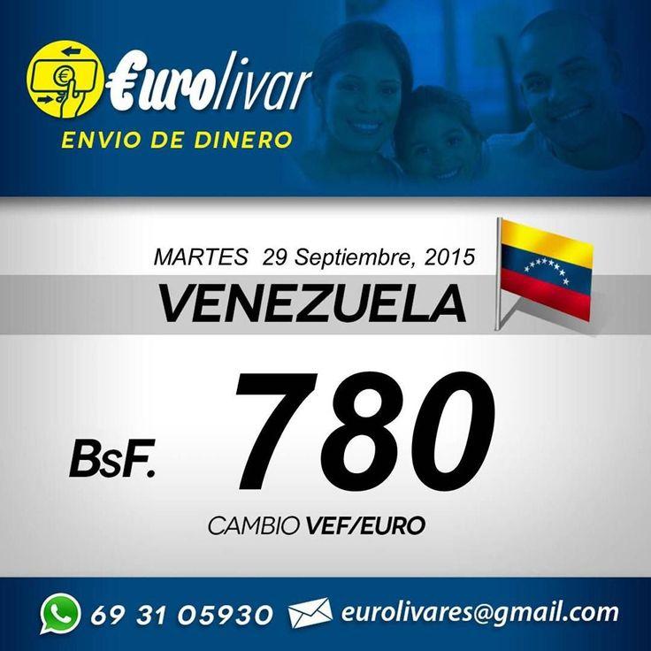 Este es el tipo de Cambio de envió de dinero para Venezuela de hoy Martes 29 de Septiembre del 2015. Para enviar dinero a tus familiares o de negocios. No cobramos comisión y tampoco hay cantidades mínimas. Llámanos o escríbenos para detallarte mejor como hacer el procedimiento. #VenezolanosenEspana #VenezolanosenMadrid