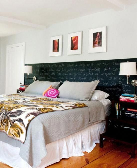 Chalkboard Paint Headboard | Click Pic for 22 Small Bedroom ...