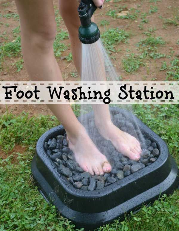 27. Rinse your dirty feet off in a foot washing station filled with flat stones.