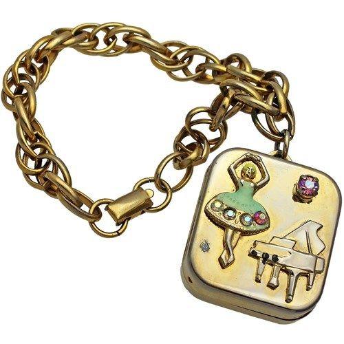 1950s Vintage Coro Music Box Charm Bracelet