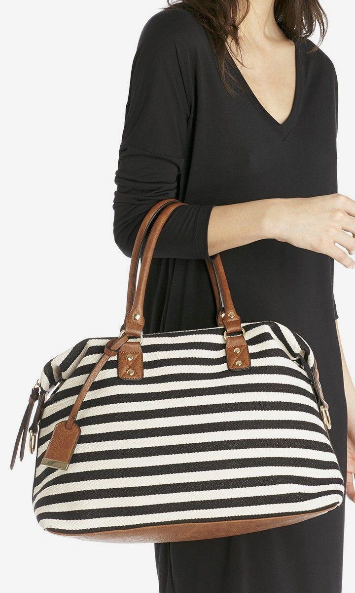 Striped canvas duffel with a crossbody strap