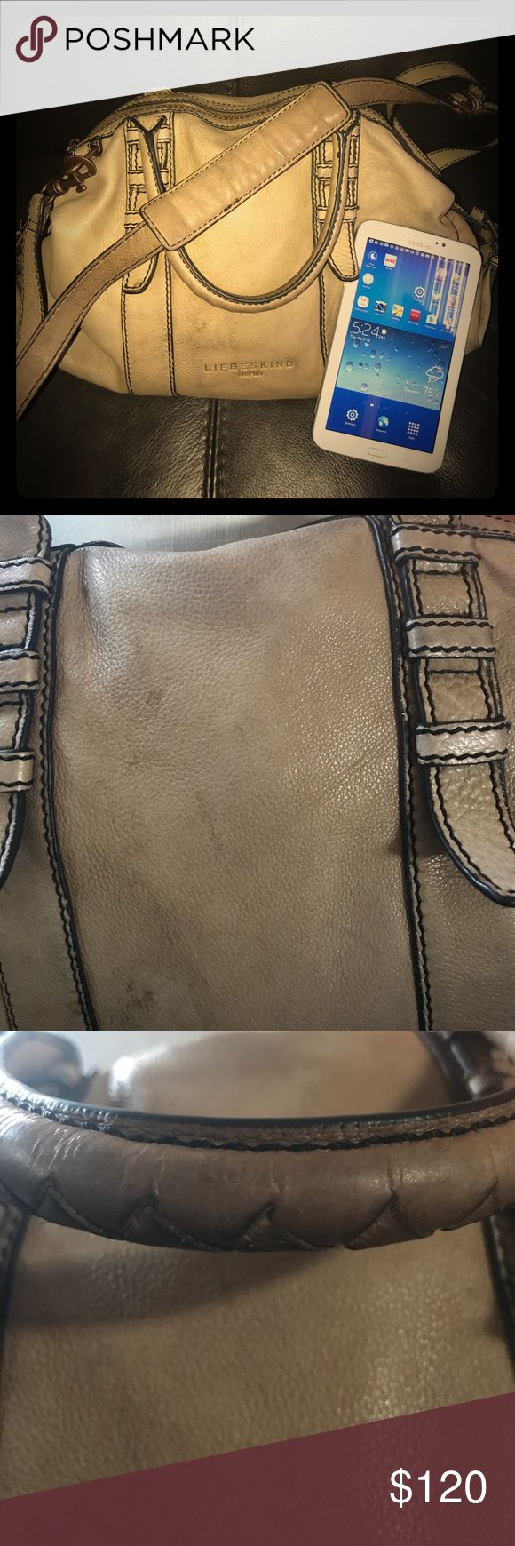 🌹Stylish Balenciaga Style Cross Body Handbag🌹 Runway Model go to bag! Beautiful cream crinkled, butter soft leather distressed Balenciaga style bag with gorgeous belt design. Padded removable shoulder strap  Awesome copper metal detailing. There is some wear on the bottom and other areasPlease look closely at pics for wear. Inside on good condition. Liebeskind Bags Satchels
