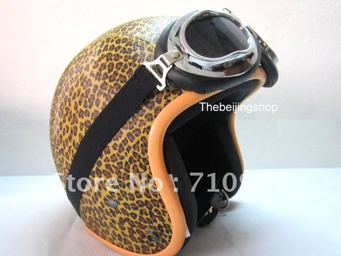New PU leather Leopard Print 3/4 Open face vintage vespa Motorcycle Scooter Jet bubble Helmet