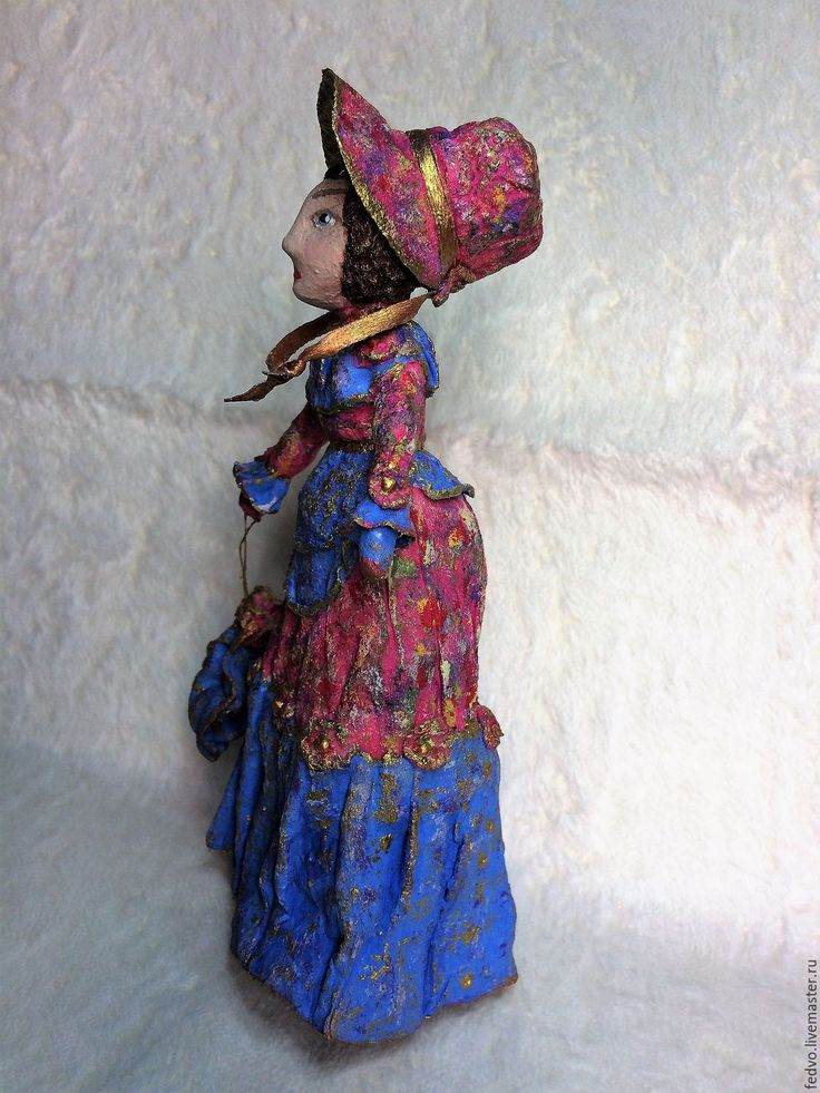 """Купить Ватная игрушка """"Дама""""(16 см) - васильковый, ватная игрушка, ватная елочная игрушка"""