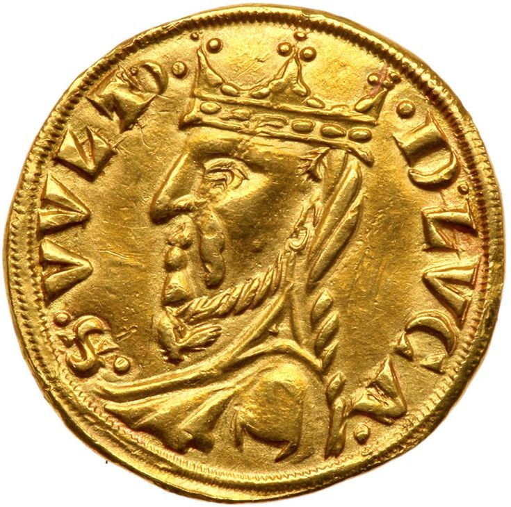 Italian States: Lucca. Grosso d'oro, ND NGC AU58 Fr-483; CNI-pl.V, 2; Bellesia-1. Issue in the name of Otto IV (post 1209) and issued under the authority of Frederico II, 1190-1250. Obverse. Monogram traditionally identified as that of Otto, the three pellets above the cross-bar. Legend: .OTTO.REX. ; The Volto Santo to left. Legend: S. VVLT'. - D. LVCA. Of the greatest rarity. Otto was the third son of Henry the Lion, Duke of Bavaria and Saxony, and the grandson of King Henry II of England…
