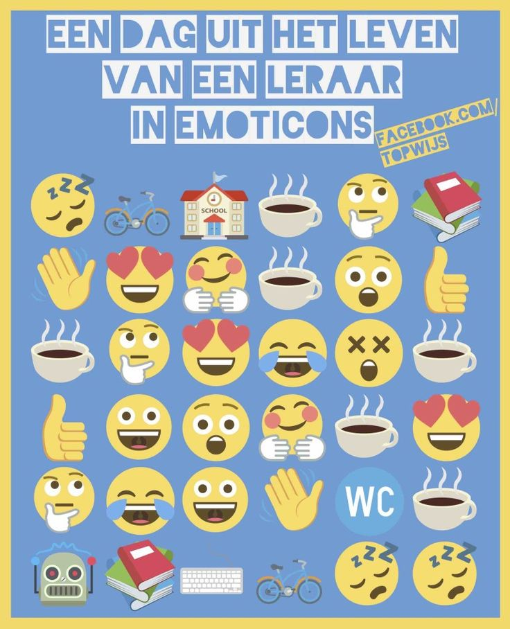 Een dag uit het leven van een leraar in emoticons. Je kan deze poster ook downloaden.