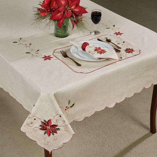 Lenox French Perle Poinsettia Table Linens Poinsettia Table