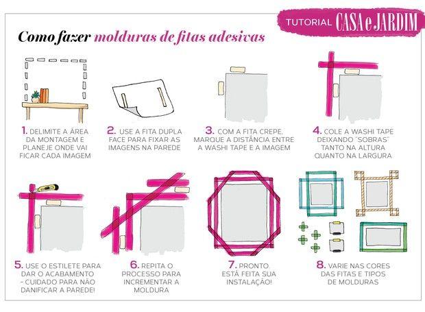 Tutorial Casa e Jardim: Aprenda a criar molduras com fita adesiva washi tape