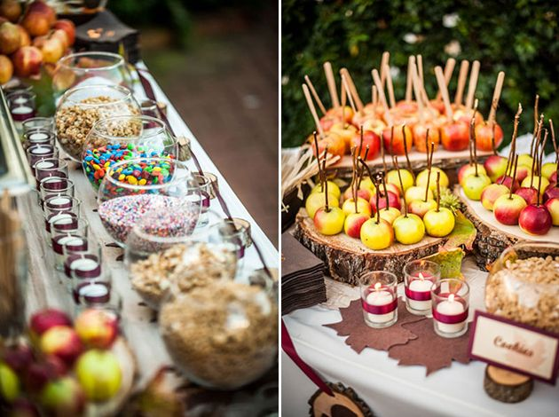 Creative food and drink bars for weddings caramel apple for Food bar trends