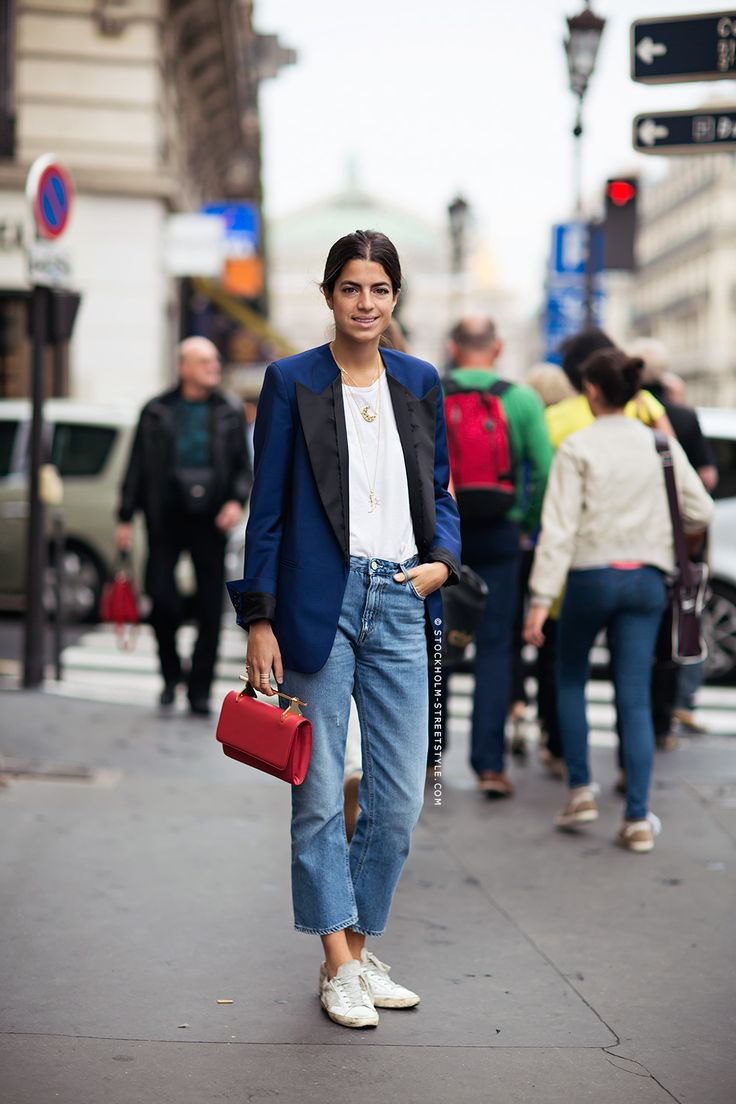 navy jacket, red bag, jeans & white golden goose sneakers