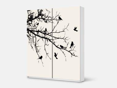 Epic Designfolie Tree and Birds f r dein Pax Schrank cm H he Schiebet r