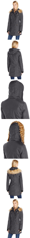 Jessica Simpson Women's Fuax Fur Hooded Parka, Steel, S
