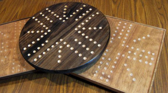 Custom Handcrafted Parcheesi Marble Board Game (You Choose the Shape, Edge and Stain Color) Aggravation Board Game