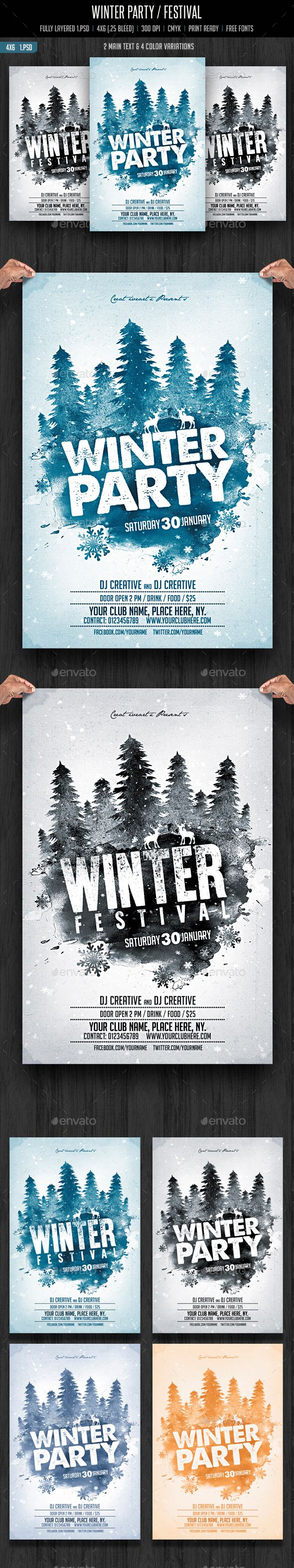 Winter Party / Festival Flyer Template PSD #design Download: http://graphicriver.net/item/winter-party-festival/13700115?ref=ksioks