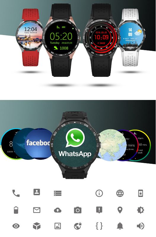 KingWear KW88 Android 5.1 1.39 inch Amoled Screen 3G Smartwatch Phone MTK6580 Quad Core 1.39GHz 512MB RAM 4GB ROM GPS Gravity Sensor Pedometer Bluetooth 4.0 #phone #mobile #gadgets #CellPhones #smartphones #Electronics @gadgetsone