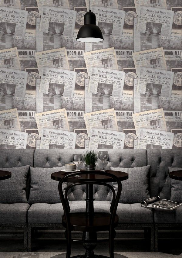 MEN ON MOON Wallpaper from Reader`s Corner Collection by MINDTHEGAP