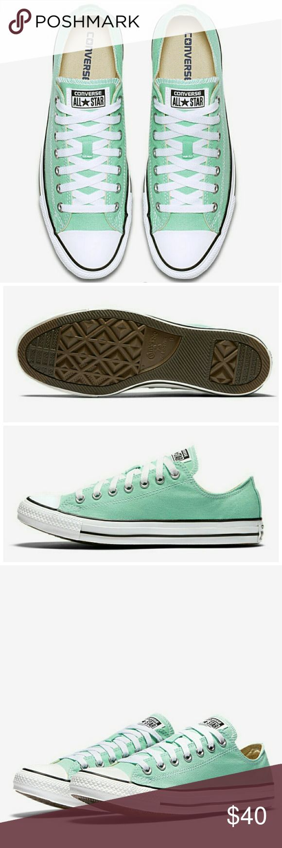 🆕Unisex Converse All Star Mint Green New in Box NWT Converse Chuck Taylor All Star Seasonal Color Low Top Unisex Shoe. Mint green color. Mens 11.5, Womens 13.5 (see measurement below). Never worn, brand new in box. ℹ Approx 31.3 cm in length (measured across longest part of shoe from toe to heel) ℹ Converse Chuck Taylor usually runs half-size larger so would fit about Mens 11.5 to 12 Converse Shoes