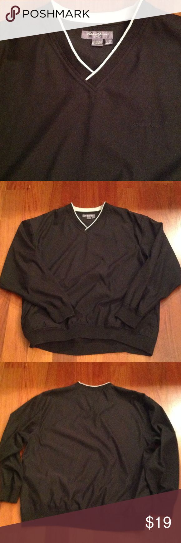 Eddie Bauer golf pull-over Black pull-over style light jacket, with pockets, black. Eddie Bauer Jackets & Coats