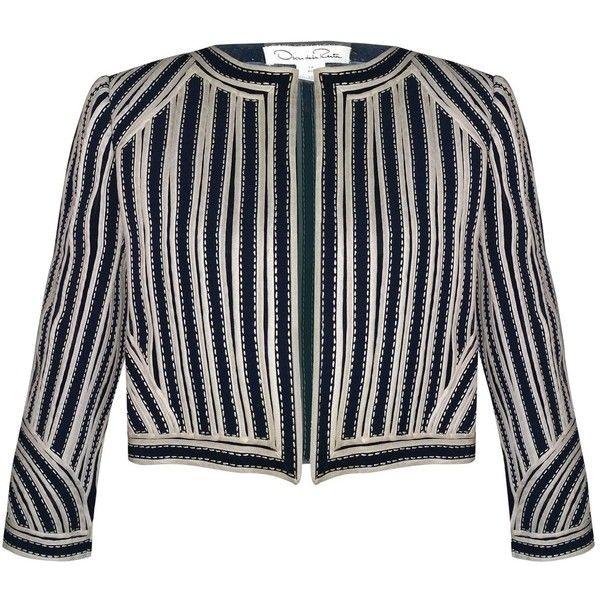Pre-owned Oscar De La Renta Blazer (€965) ❤ liked on Polyvore featuring outerwear, jackets, blazers, blue, women clothing jackets, blue jackets, oscar de la renta blazer, short-sleeve jackets, cropped jacket and blue cropped blazer