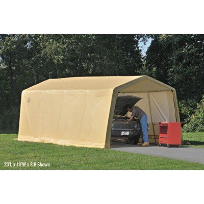 ShelterLogic Autoshelter Instant Garage - 15ft.L x 10ft.W, 1 3/8in. Frame, Tan, Model# 62681 by ShelterLogic. $279.99. Commercial-grade polyethylene woven fabric is UV treated inside and out to stand up to elements. ShelterLock stabilizer blocks at every rib connection add rock-solid strength to frame. Universal steel foot plates for easy, solid connection to ground anchors, cement floor or pony walls. Ratchet Tite tension system and easy-glide sliding cross rails keep cov...