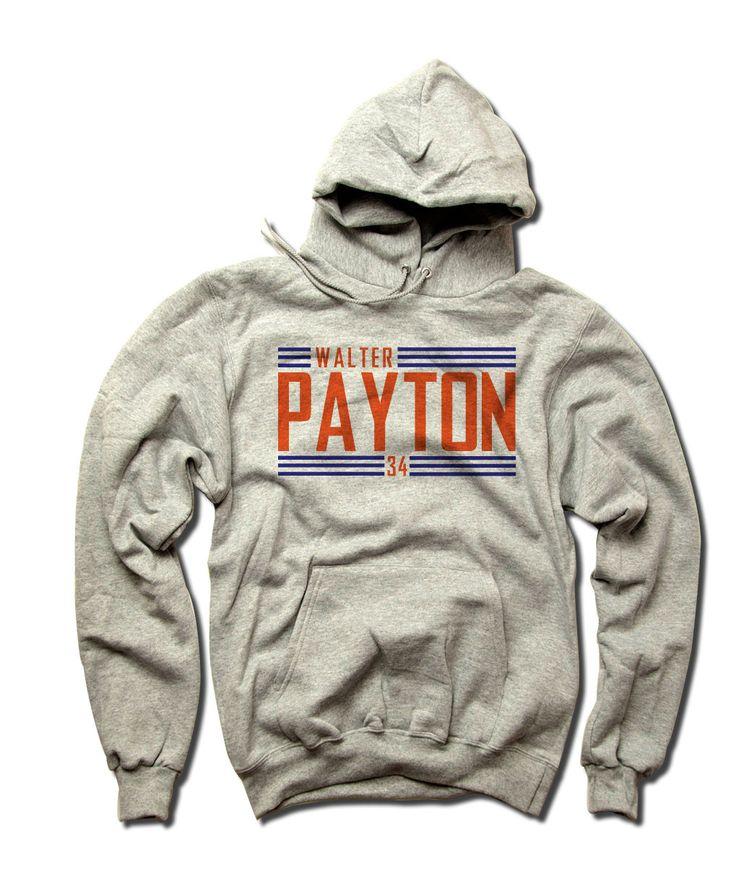Walter Payton Officially Licensed NFLPA Chicago Bears Unisex Champion Hoodies S-3XL Walter Payton Big Orange Font