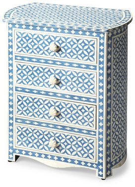 Amelia Blue Bone Inlay Accent Chest