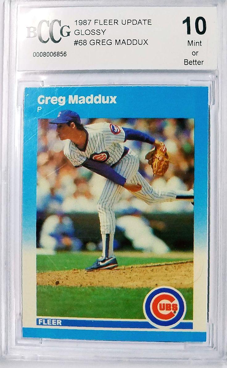 """GREG MADDUX ROOKIE CARD """"10"""" MINT 1987 Fleer Update GLOSSY U-68 Cubs Braves HOF"""