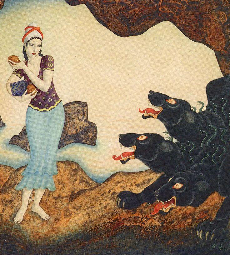 Edmond Dulac- Psyche with Cerberus, the three-headed hell-hound of Hades' underworld.