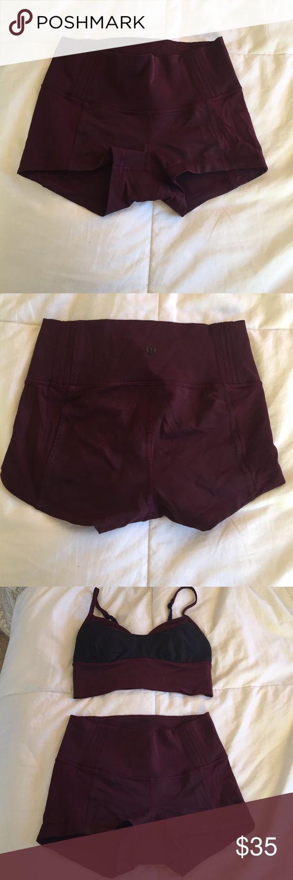 Lululemon Burgundy Shorts Lululemon Burgundy Shorts. Used only twice, washed per lulu rules. No rip tag. Bundle with matching bra for additional discount! lululemon athletica Shorts