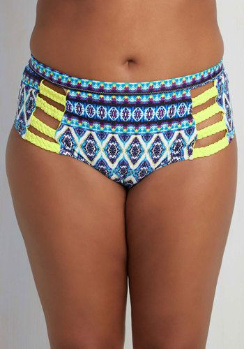 Cabana Fandom Swimsuit Bottom - 1X-3X. Even though youre serenely situated beneath a canopy for the afternoon, this bright bikini bottom by Jessica Simpson Swim still manages to make a splash! #blue #modcloth