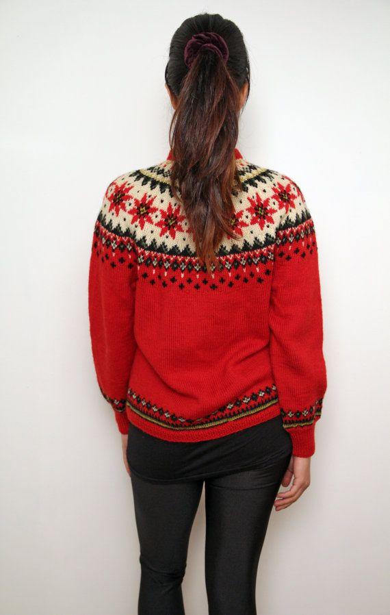 Vintage Nordic Wool Fair Isle Cardigan 60s Knit by ChickFlic