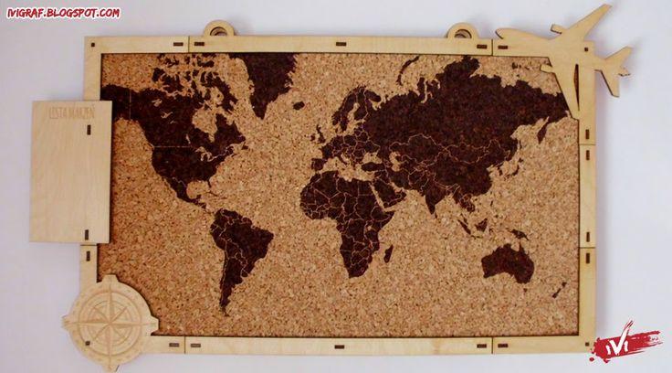 tablica korkowa - Around the World, kork, laser cut