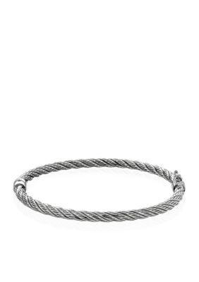 Belk & Co. Women Sterling Silver Twist Bangle Bracelet - Silver - 7