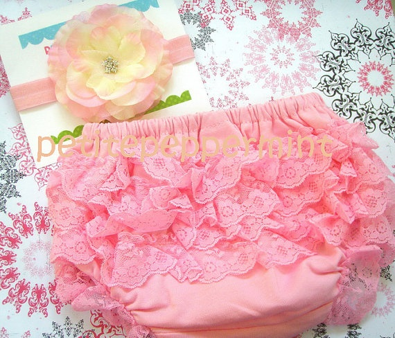 Pink Baby Bloomer Diaper Cover and headband by PetitePeppermint, $10.95