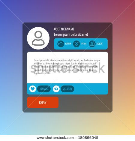 Flat Mobile UI Design. Reply message box. Vector illustration for web or mobile applications. Eps 10. - stock vector