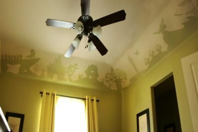 The ceiling mural that we painted in our baby's Disney nursery: We started to plan our cheery Disney nursery when found out we were having a baby boy and from the very start we knew that we did NOT want the standard